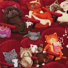 wine red animal fabric scared cats Timeless Treasures 1