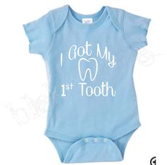 I Got My First Tooth Baby Shirt Creeper Baby Shower by Blakenreag, $14.99