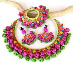 colorful necklace big bold chunky necklace large by Marmotescu
