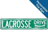 """Create a lacrosse theme in any room with this 4"""" X 18"""" aluminum room sign. We can personalize this sign with your lacrosse player's information! A great gift for an avid lacrosse player, fan or coach!"""