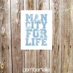 Man City For Life | Household Art | Wall Art | Subway Art | 5x7 | 8x10 | Instant Download