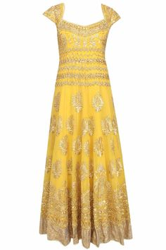 This yellow anarkali is made in gorgette base appliqued with floral pattern gold gota patti work and beads embroidered motifs all over the front and back ghera