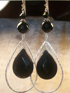 Black Onyx Teardrop Earrings by LisasOriginals on Etsy, $36.00