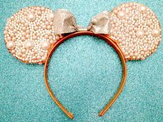 Custom Minnie Mouse Rhinestone & Pearl Ears by MysteresMasquerade, $46.99