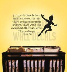 Vinyl Wall Decal Sticker Peter Pan Quote Kids Nursery Bab…