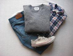 Clean, casual menswear. Low Chucks, sweater, flannel, denim.