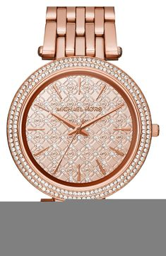 Crushing on this rose gold and crystal Michael Kors watch.