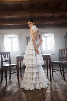 Folk Wedding Dresses- Your Perfect Modern Vintage by Daalarna, Tradition meets modernity, and old meets new in the FOLK bridal collection. Wedding Dresses Uk, Designer Wedding Dresses, Bridal Gowns, Bridesmaid Dresses, Lace Wedding, Crochet Lace Dress, Floral Lace Dress, Bridal Collection, Dress Collection