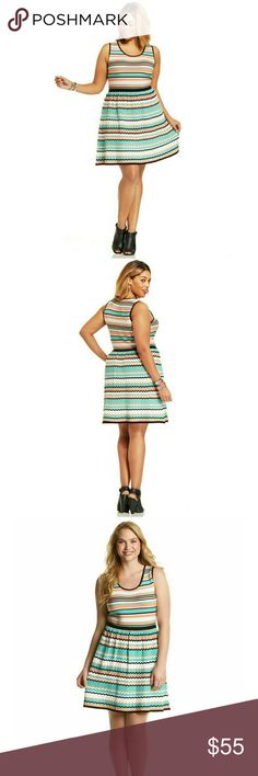 New! Jessica Simpson Striped Flare Dress Plus Size Look super-cute in stripes with Jessica Simpson's A-line plus size dress!  Brand New With Tags   Allover textured stripe print Chevron pattern on skirt Fitted bodice. Flared skirt Scoopneck Sleeveless. Pullover style Machine wash cold, hang dry. Acrylic/nylon Retails for $89 Jessica Simpson Dresses