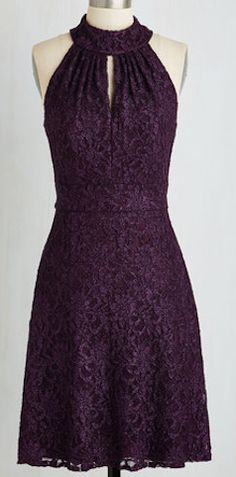 Purple lace sleeveless dress