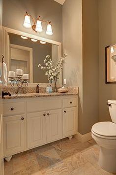 Beige Tile Bathroom, White Bathroom Cabinets, Cream Bathroom, Bathroom Remodel Pictures, Rooms Ideas, Bathroom Color Schemes, Bathroom Colors, Powder Room Design, Upstairs Bathrooms