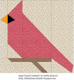 Paper pieced cardinal