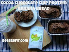 Cocoa Chocoloate Chip Protein Banana Bread (gluten-free, no added sugar or oil)