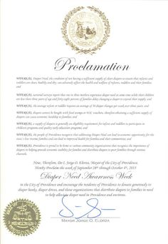 Providence, RI - Mayoral proclamation recognizing Diaper Need Awareness Week (Sept. 28 - Oct. 4, 2015) #DiaperNeed www.diaperneed.org
