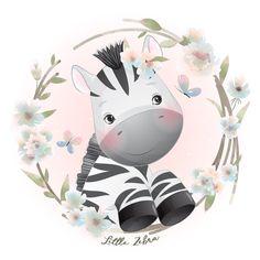 Cute Disney Drawings, Cute Animal Drawings, Cute Drawings, Floral Illustrations, Cute Illustration, Watercolor Animals, Floral Watercolor, Doodles Bonitos, Cute Wild Animals