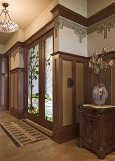 Arts and Crafts revival home stained glass door Iowa_hall