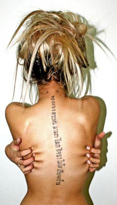 I don't want this, but I really do want a tattoo down my spine... Let go and let god, size and lengther