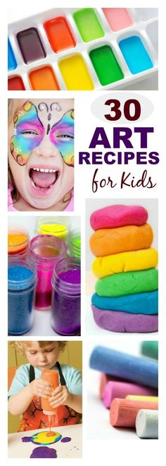30 Art Recipes for Kids | Did you know that you can make most of your own art supplies? The process is fun for kids, and they love creating with materials they made themselves! Here you will find recipes for making all of the art supply staples your kids frequently use.