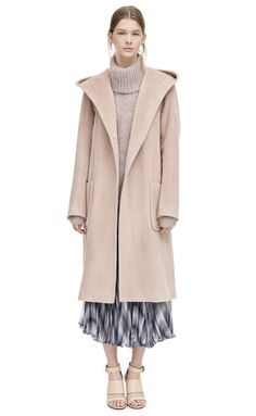 Rebecca Taylor Fall Winter 2015-16 Plush Wool Wrap Dress Coat Front View available for purchase