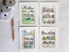Fridge Original Sketch Illustration Refrigerator by YubinArt