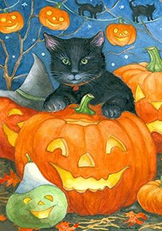 """Black Cat Pumpkin "" - Halloween Themed - Double Sided - ...…"