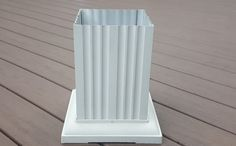 Fluted Square Column. Column comes in 26 different sizes. Column Features are Load Bearing, Powder Coated Finish, Available in seven finishes or Primed for Paint, Cast Aluminum Capitals & Bases, Virtually Maintenance Free, Class 1 Flame Spread Classification, Architectural Fluted, 10 SKUs Packaged with Capital & Base in same bow with column, Wrap around existing post Ideal for commercial & residential applications. For more information you can contact us at (856)875-0050