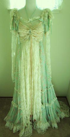 Vintage-Edwardian-Princess-Corset-Pearls-Lace-Bustle Dress-Ribbon Corset-Ruffles-S, via Etsy.