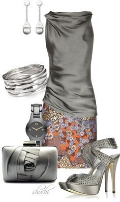 """Satin Gray-Rust"" by shuchiu on Polyvore"