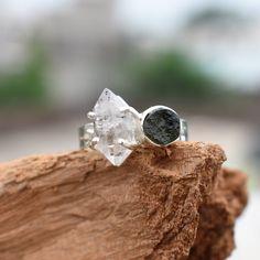 Raw Gemstone Ring, Meteorite Ring, Handmade Rings, Personalized Rings, Raw Gemstones, Herkimer Diamond, Diamond Stone, Stone Rings, Statement Rings