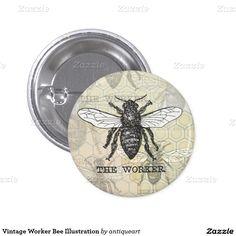 Vintage Worker Bee Illustration Pinback Button