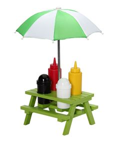 Green Picnic Table Condiment Set - so cute! want!