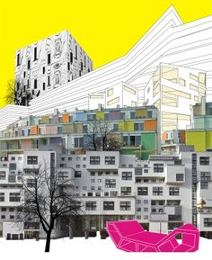PPAG city collage XP: like the neutral gray background with splashes of color City Collage, Collage Art, Photomontage, Collages, Architecture Drawings, School Architecture, Project Presentation, Collage Design, A Level Art