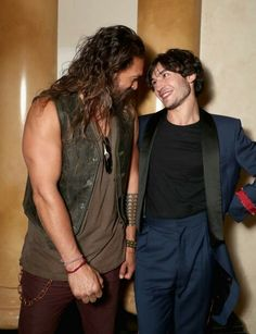 Find yourself someone who looks at you the way Jason Momoa and Ezra Miller look at each other.