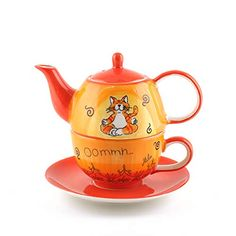 Tea For One, My Cup Of Tea, Lotus, Tee Set, Dancing Cat, Cat Drinking, Funny Character, Yellow Cat, Tea Party Birthday