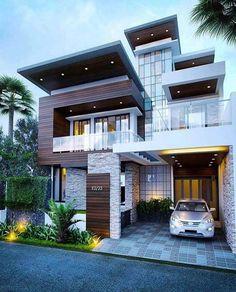 Dream house exterior, minimalist house design и modern house design. Minimalist House Design, Modern House Design, Minimalist Style, Modern House Exteriors, House Front Design, House Structure Design, Garage Design, Modern Mansion, Dream House Exterior