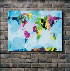 One Colourful World (blue version) - 18x24 Canvas Print. $100.00, via Etsy.