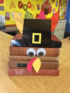 Book turkey, library display, thanksgiving decorations. Elementary school library Thanksgiving Bulletin Boards, Thanksgiving Books, Thanksgiving Decorations, Fall Library Displays, School Displays, Library Inspiration, Library Ideas, Book Turkey, Elementary School Library