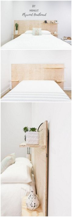 Check out this easy idea on how to make a #DIY minimalist plywood shelf headboard #homedecor #wood #crafts #project @istandarddesign