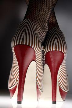 "kiwidinok-breeze: "" prettylilredhead: ""Want "" I've got the fishnets and red and white polka dot heels, but I do like those stripes! """
