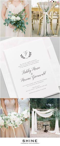 Olive Leaf Wedding Inspiration - Italian Wedding Inspiration - Blush, Green, Gray, Neutral   Simple Wedding Invitations
