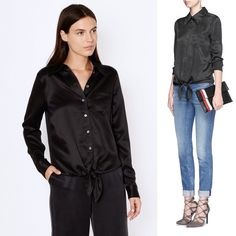 Equipment Black Archive Luis Top NWT A menswear inspired Equipment top composed of luxe satin. A front tie finishes the hem. Fold-over collar and pearlescent-button placket. Patch breast pocket. Long sleeves and button cuffs. 100% silk. NWT. Equipment Tops Button Down Shirts