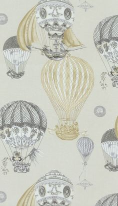Fabric - AERIAL ADVENTURE  Waverly: 675831 Air Balloons/yellow & Black
