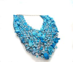 Blue Knitted Summer Fashion Wire Necklace by IremOzerdemDesigns  on etsy