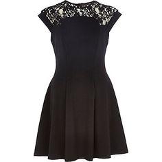 Black lace top skater dress - skater dresses - dresses - women