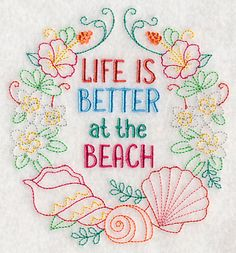"L 3682 & L  3683  4x4  5x5 life is better at the beach 	Life is Better at the Beach Wreath	Product ID:	L3682 Size:	4.85""(w) x 5.28""(h) (123.2 x 134.1 mm)	Color Changes:	9 Stitches:	10400	Colors Used:	9"
