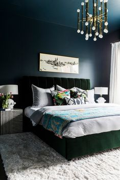 Modern North Carolina Home With Global Design Inspiration – Domino Modern North Carolina Home With Global Design Inspiration dramatic, moody bedroom with deep navy walls and a green velvet bed frame Green Bedding, Bedroom Green, Emerald Bedroom, Green Bedrooms, Bedroom Colors, Home Decor Bedroom, Modern Bedroom, Bedroom Ideas, Bedroom Designs