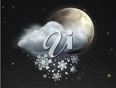 iCLIPART - Vector illustration of cool single weather icon - moon with cloud and snow in the night sky