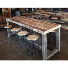 reclaimed wood bar restaurant counter community rustic custom kitchen coffee conference office meeting table hightop high top tables, wood chair bar dining rooms - Wood bar table, Bar dining table, Re - Patio Bar Set, Pub Table Sets, Wood Bar Table, Diy Table, Rustic Bar Tables, Wooden Bar, Outdoor Bar Table, Wood Tables, Restaurant Counter