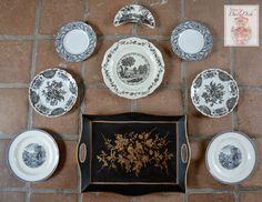 9 pc Mix n Match Vintage English China Black Transferware Plates & Tole Tray