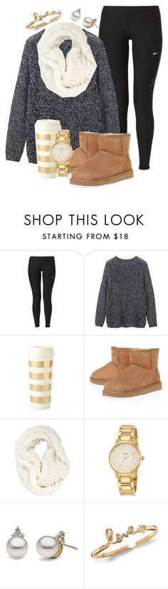 """When it's 30 degrees outside and you have to wait to be picked up from school "" by madelyn-abigail ❤ liked on Polyvore featuring NIKE, Toast, Kate Spade, UGG and La Fiorentina"